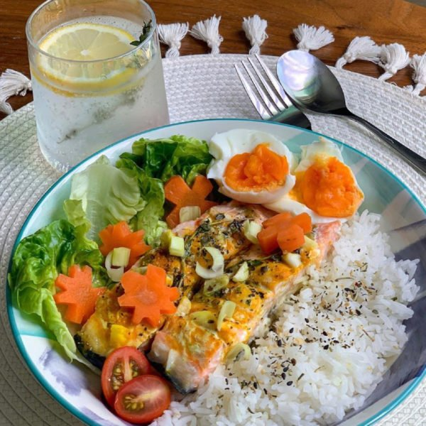 Salmon rice with carrot Influencer post by Elieen