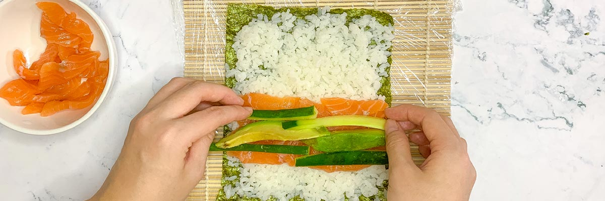 maki roll with alchemy fibre and cucumber avocado