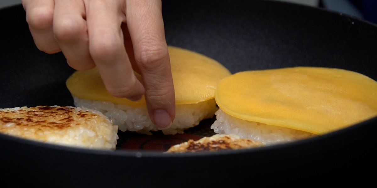 place cheese on rice patties